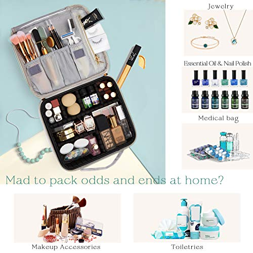Marble Leather Travel Makeup Case Cosmetic Bag PU Leather Makeup Organizers Storage Portable Brush Holder with Adjustable Divider Zipper Pocket for Cosmetics Tools Gadgets Gift for Women, White