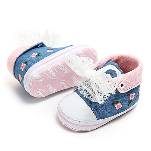 Newborn Shoe Sizes - Tutoo Unisex Baby Boys Girls Star High Top Sneaker Soft Anti-Slip Sole Newborn Infant First Walkers Canvas Denim Shoes (12-18 Months M US Infant, C-Blue)