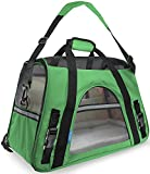OxGord Airline Approved Pet Carriers w/ Fleece Bed For Dog & Cat - Large, Soft Sided Kennel - 2016 Newly Designed Model, Shamrock Green