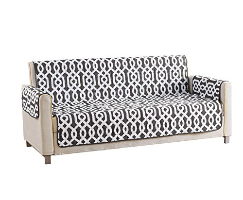 Quick Fit Geometric Printed Reversible Waterproof Slipcover for Sofa Couch Cover, Grey