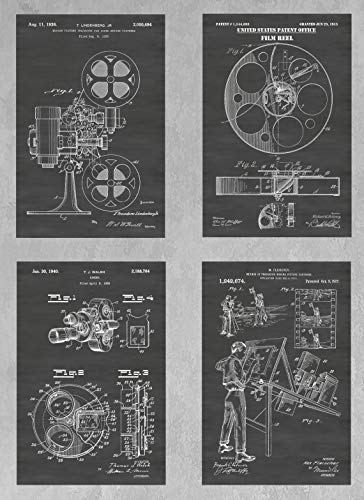 Vintage Animation Art - Vintage Animation & Motion Picture Making Paraphernalia Wall Decor Collection: Set of Four Patent Print Art Posters: Choose From Multiple Size and Background Color Options