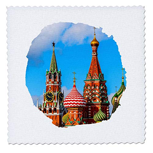 (3dRose Alexis Photography - Moscow Kremlin - Moscow Kremlin Spassky Tower and St. Basils Cathedral. Round Frame - 8x8 inch Quilt Square (qs_287110_3) )