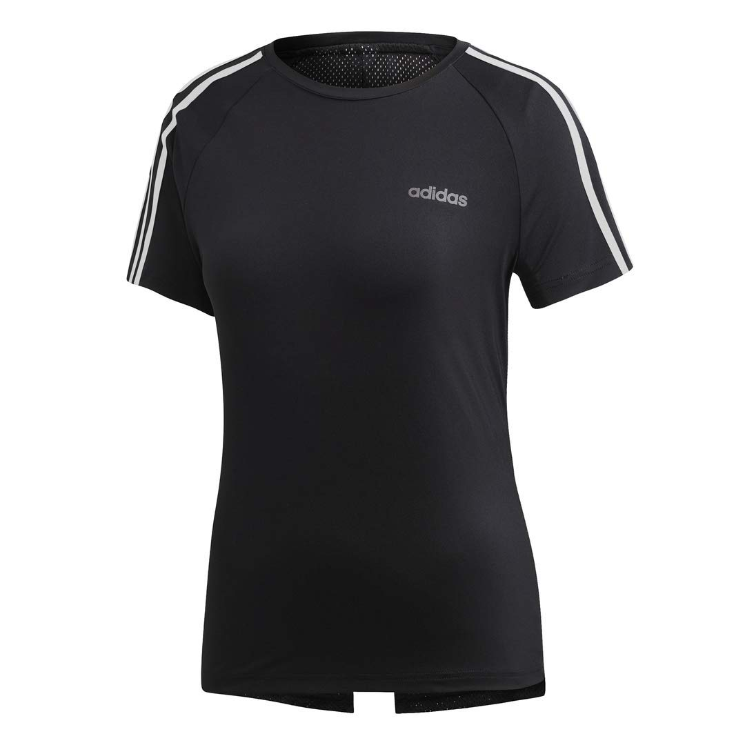 adidas Women's Designed 2 Move 3-Stripes Training Tee, Black/White, X-Large by adidas
