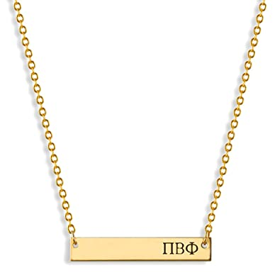 amazoncom a list greek horizontal bar necklace pi beta phi hand stamped greeks letters jewelry gold filled sorority necklaces great gift for