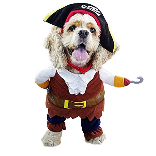 Dog Cat Costume Caribbean Pirate Suit Corsair Dressing Party Apparel Clothes Hat (Egyptian Farmer Costume)