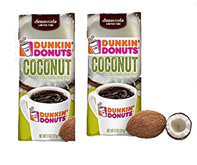 Dunkin' Donuts Coconut Ground Coffee, 11 oz (2 PACK)
