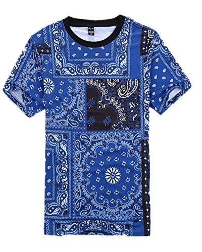 Men Hip Hop Casual Cashew Nut Print Jogger Short Sleeve T-Shirt (XXL, Blue)