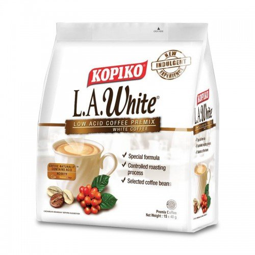 Kopiko Low Acid White Coffee/Rich In Aroma, Bold In Taste Yet Easy On Stomach/A Less Acidic Brew for Coffee Lovers (15s x 40g)