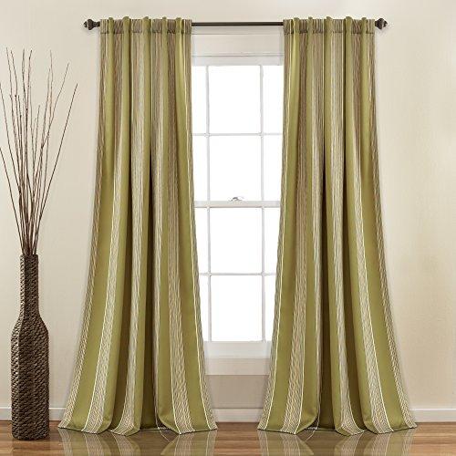 Stripe Sage Green (Lush Decor Lush Décor Julia Stripe Room Darkening Window Curtain Panel Pair, 84