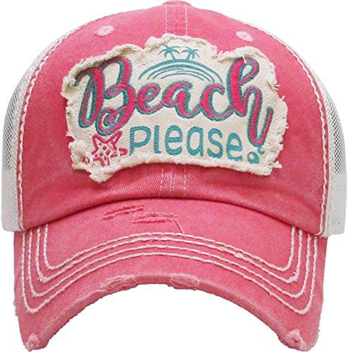 - H-212-BP52 Mesh Dad Hat - Beach Please (Coral)