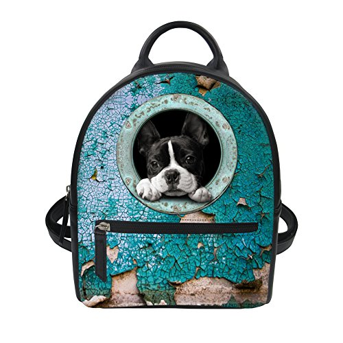 FOR U DESIGNS 3D French Bulldog Pattern Pu Leather Backpack Small Blue Children Purse