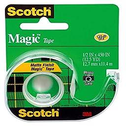 Scotch Magic Tape, 1/2 x 450 Inches, 4 Rolls