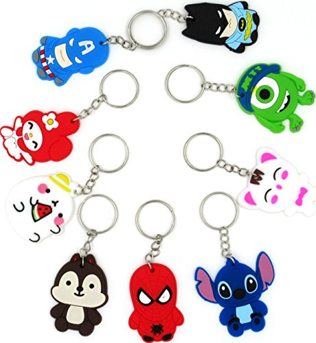 Cartoon Keychain - Anime Key Chains 9Pcs Pack Figure Rubber Key Holder Tag Keychain Lot