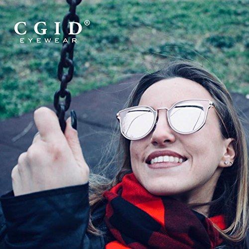 CGID Femme Lentille Mode Argenté Polarisées Argenté Lunettes Miroir Cercle MJ86 de Double UV400 soleil EqSYEwr