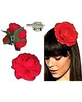 Mondial-fete Fleur andalouse rouge avec broches 9 cm