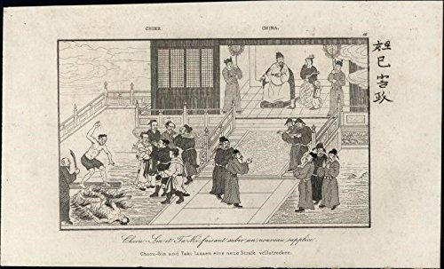 Burn man alive Torture Cheou-Sin Taki Ta-ki China 1837 antique engraved print