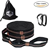 Hammock Tree Straps Set - 2000+ lbs Breaking Strength, Adjustable 38 Loops, 100% No Stretch, Triple Stitched Connection Points- Heavy Duty Camping Hammock Accessories Suspension System Kit