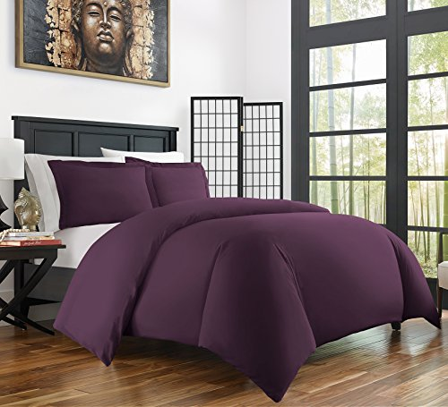 Zen Bamboo Ultra Soft 3-Piece Bamboo Full/Queen Duvet Cover Set - Hypoallergenic and Wrinkle Resistant, Purple (Purple Duvet Cover Set)