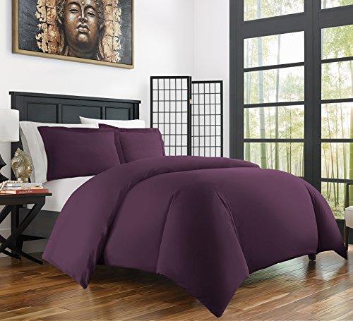 Zen Bamboo Ultra Soft 3-Piece BambooFull/QueenDuvet Cover Set -Hypoallergenic and Wrinkle Resistant, Purple (Purple Duvet Cover Set)