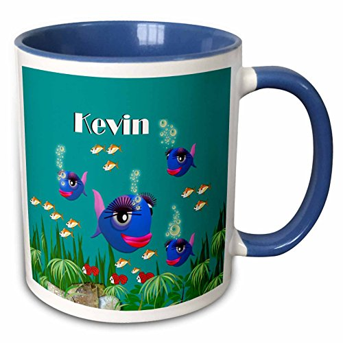 3dRose SmudgeArt Male Child Name Design - This vibrant artwork of Fish under the sea is personalized with the name Kevin - 11oz Two-Tone Blue Mug (mug_51193_6)