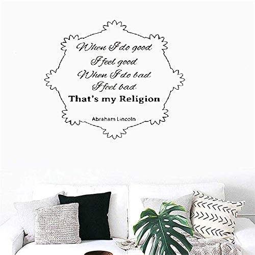- Akiar Vinyl Wall Decal Wall Stickers Art Decor Peel and Stick Mural Removable Decals When I Do Good I Feel Good When I Do Bad I Feel Bad That's My Religion for Bedroom