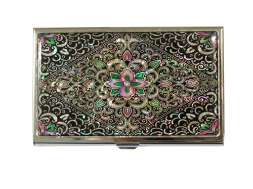 Powdered Mother Of Pearl - Mother of Pearl Arabesque Design Metal Stainless Steel Business Credit Name Id Card Holder Case Organizer Wallet