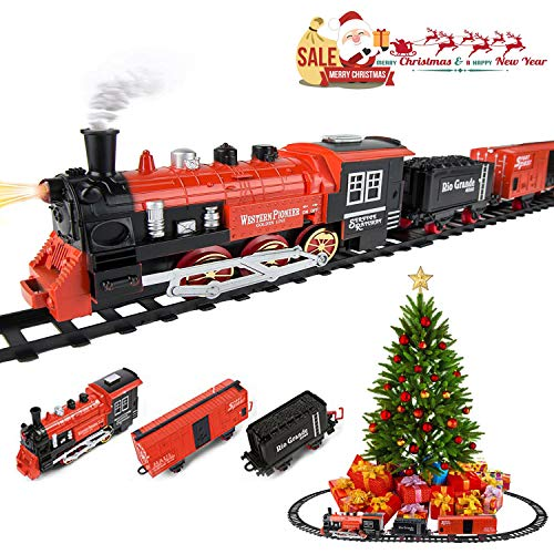 - Kids Classic Battery Operated Toy Railway Train Set with Lights & Sounds, Christmas Spirit, Full Set with Locomotive, Carriage and Tracks, Great Gifts for Kids, Red
