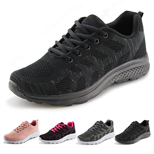 Jabasic Women's Breathable Knit Sports Running Shoes Casual Walking Sneaker(10, Black)