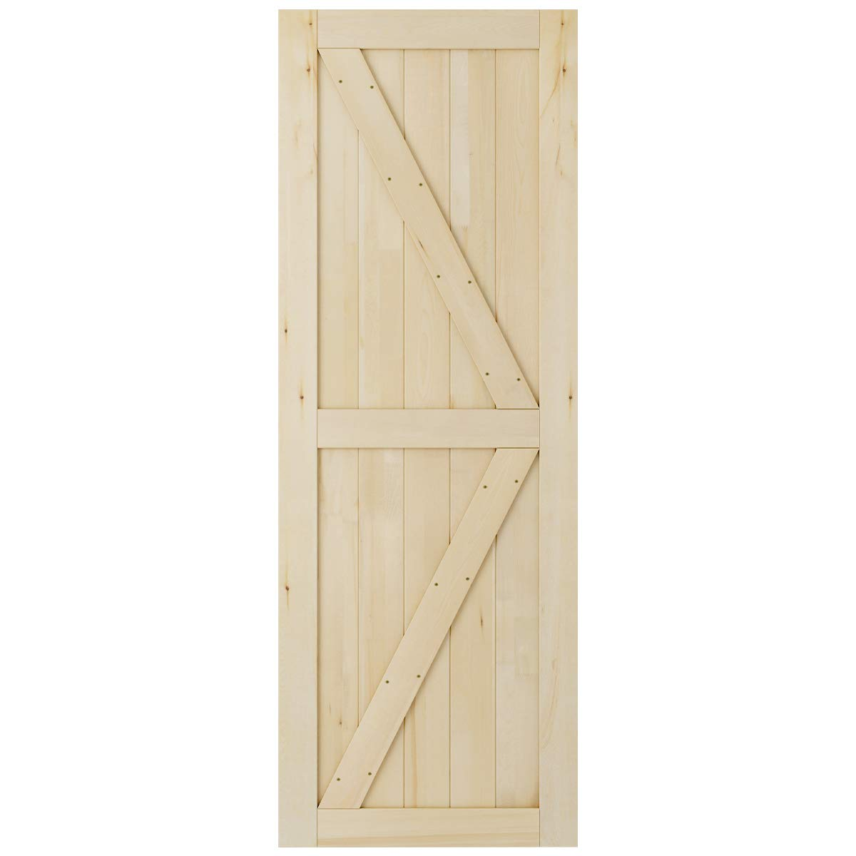 SmartStandard 30in x 84in Sliding Barn Wood Door Pre-Drilled Ready to Assemble, DIY Unfinished Solid Cypress Wood Panelled Slab, Interior Single Door Only, Natural, K-Frame