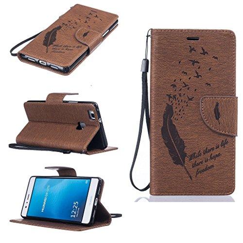 Huawei P9 Lite Hülle Brieftasche mit Standfunktion Kartenfächer, Yica Ledertasche Wallet Case Schutzhülle Flip Case für Huawei P9 Lite (Braun)