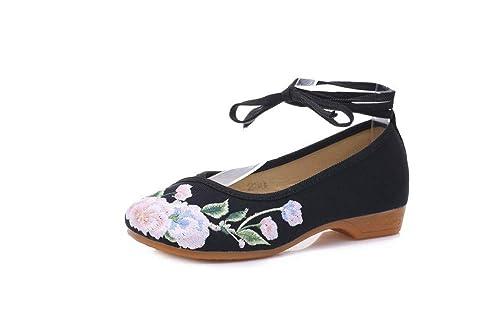 Bordado Zapatos/Alpargatas/Merceditas/Zapatos Bordados Primavera Zapatos de Tela de tacón Inclinado Zapatos de Mujer Zapatos de Baile: Amazon.es: Zapatos y ...