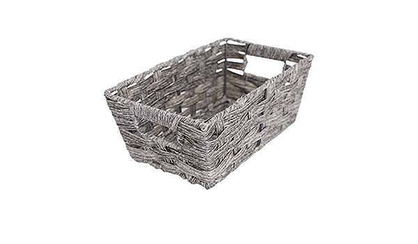 Faux Rattan Medium Shelf Basket in Grey