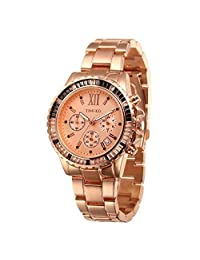 Time100 Mens Watches Rose Gold Stainless Steel Multifunction Chronograph W50327G