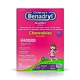 Children's Benadryl Allergy Chewables with Diphenhydramine HCl Antihistamine, Grape Flavor, 20 Count (Pack of 1)