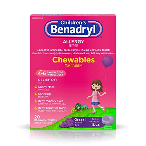 Allergy Chewable Tablets - Children's Benadryl Allergy Chewables with Diphenhydramine HCl Antihistamine, Grape Flavor, 20 ct