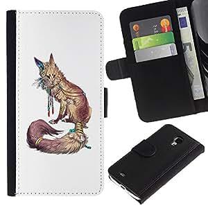 APlus Cases // Samsung Galaxy S4 Mini i9190 MINI VERSION! // Fox blanco de la naturaleza Animal Rojo minimalista // Cuero PU Delgado caso Billetera cubierta Shell Armor Funda Case Cover Wallet Credit Card