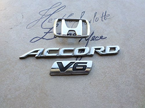 01-02 Honda Accord V6 Rear Trunk Silver Nameplate 75701-SK7-0400 Emblem Sticker Logo Set of 3