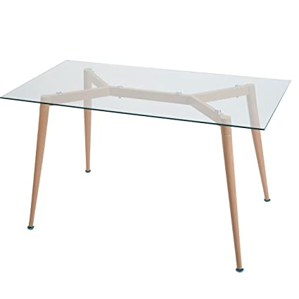 Merax Contemporary Rectangular Dining Table With Tempered Glass Top And  Metal Legs