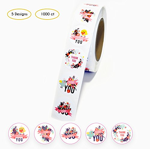Thank You Stickers roll 1.5 inch – 5 Assorted Floral Designs– 1000 Pack of Round Adhesive Labels – Perfect for Baby Shower Thank You Cards, Shipping Envelopes and Small Businesses by Akshaya