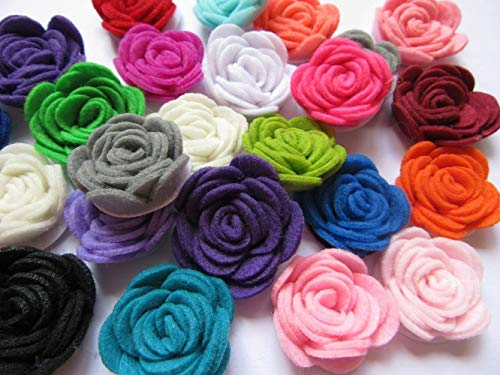 YYCRAFT Pack of 20PCS Felt Flower Rose 1.5