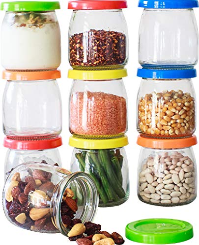 Hatrigo 6 oz Clear Glass Jars With Lids, 10-Piece Glass Yogurt Jars Set with Color Lid, Reusable Small Glass Jars Containers for Baby Food Storage, Canning Jars, Pudding Cups, like Mason Jars 6 oz