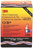 3M O/B+ Performance Plus Wire Connector Pouch, 100/pouch, Small, Orange/Blue (Pack of 100)