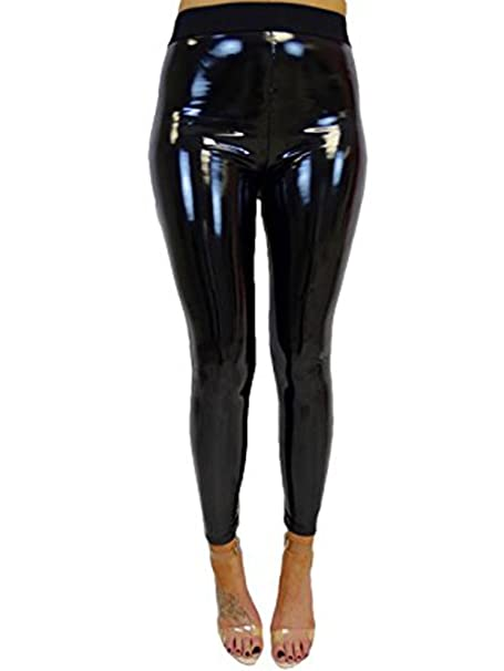 98641f7e6aa23 Women's Faux Leather Wet Look Shiny Metallic High Waist Legging Pants  Trousers ...