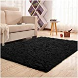 Noahas Super Soft Modern Shag Area Rugs Fluffy Living Room Carpet Comfy Bedroom Home Decorate Floor Kids Playing Mat 4 Feet by 5.3 Feet (Black)