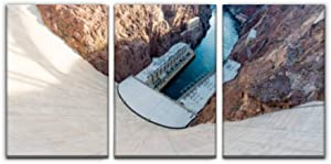 Gisas Enall Hoover Dam Nevadas and Pictures Print Painting 3 Panel Home Decoration Paintings Wall Art Framework Canvas Prints Gallery for Living Room Wall Poster Hang Framed