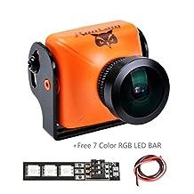 Weyland RunCam Owl Plus 700TVL FPV Camera Mini Wide Angle 5-22V for Quad Flying Drones 0.0001 Lux 150Deg(Orange) with 1 pcs RGB LED BAR