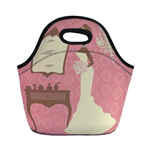 Neoprene Lunch Bag,Bridal Shower Decorations,Wedding Dress with Flowers and Vanity Swirl Backdrop,Coral Brown and White,for Kids Adult Thermal Insulated Tote Bags ()