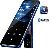 MP3 Music Player with Bluetooth 4.2, Lonve HD Color Large Screen 2.4 Inch, 8GB Lossless Audio Player with FM Radio Voice Recorder, Metal Touch Button Media Player Supports Up to 128GB, Blue