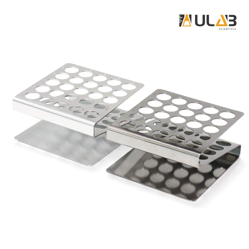ULAB Scientific Test Tube Rack Set, Z Shape, 1pc in Stainless Steel, 1pc in Aluminum, UTR1003