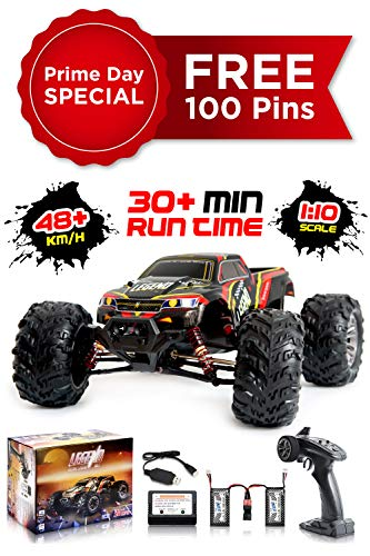 1:10 Scale Large RC Cars 48km/h+ Speed | Boys Remote Control Car 4x4 Off Road Monster Truck Electric | All Terrain Waterproof Toys Trucks for Kids and Adults | 2 Batteries + Connector for 30+ Min Play